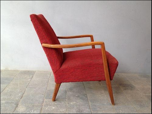 fauteuil danois tissu vintage rouge pictures. Black Bedroom Furniture Sets. Home Design Ideas